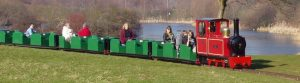 A miniature train that passes by Lakeside Kitchen & Bar, one of the places to eat in Ferry Meadows